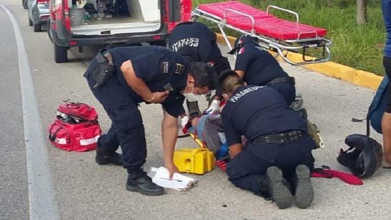 Motociclista resulta herido tras ser impactado en la vía Mérida-Tizimín