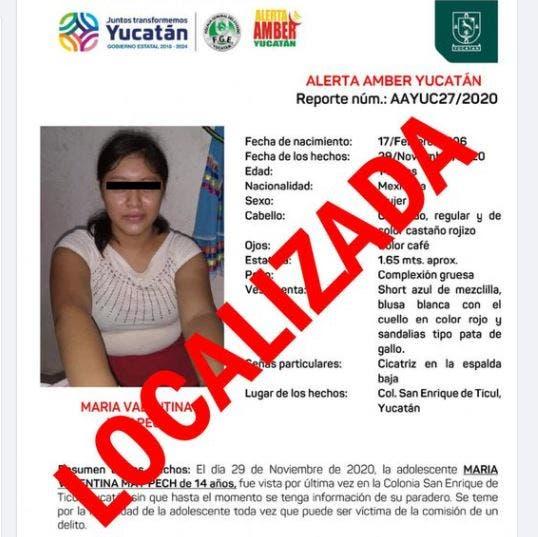 Alerta Amber desactivada tras hallar a menor de 14 años extraviada en Ticul