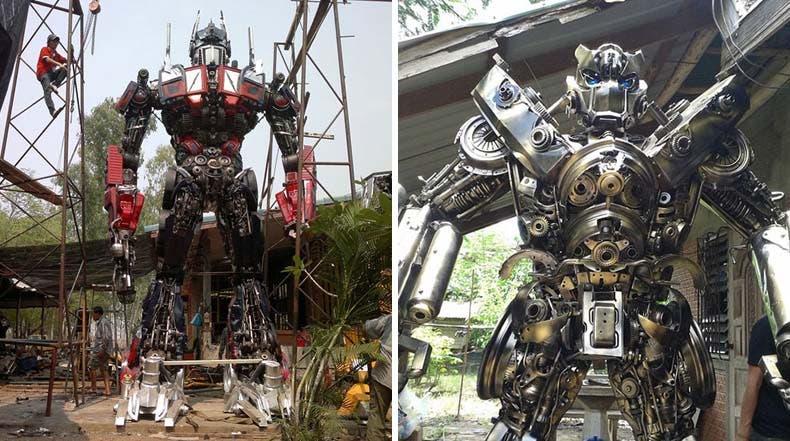 A partir de carros viejos crean fabulosos Transformers