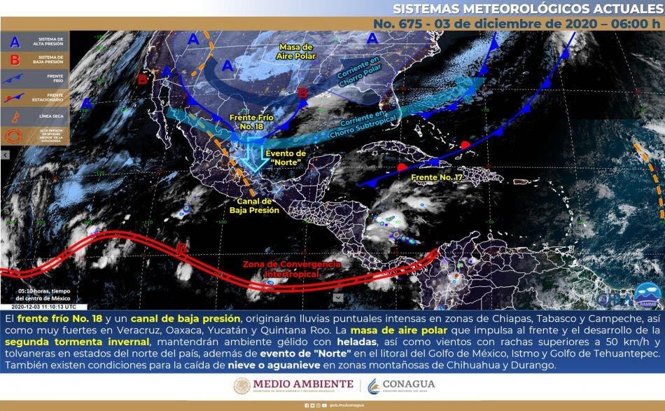 Pronóstico del clima para hoy jueves 3 de diciembre en Quintana Roo.