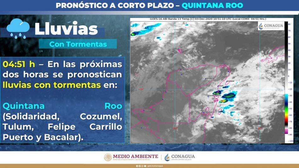 Pronóstico del clima para hoy jueves 3 de diciembre en Quintana Roo; se prevén algunas lluvias para la Península y temperaturas frescas.
