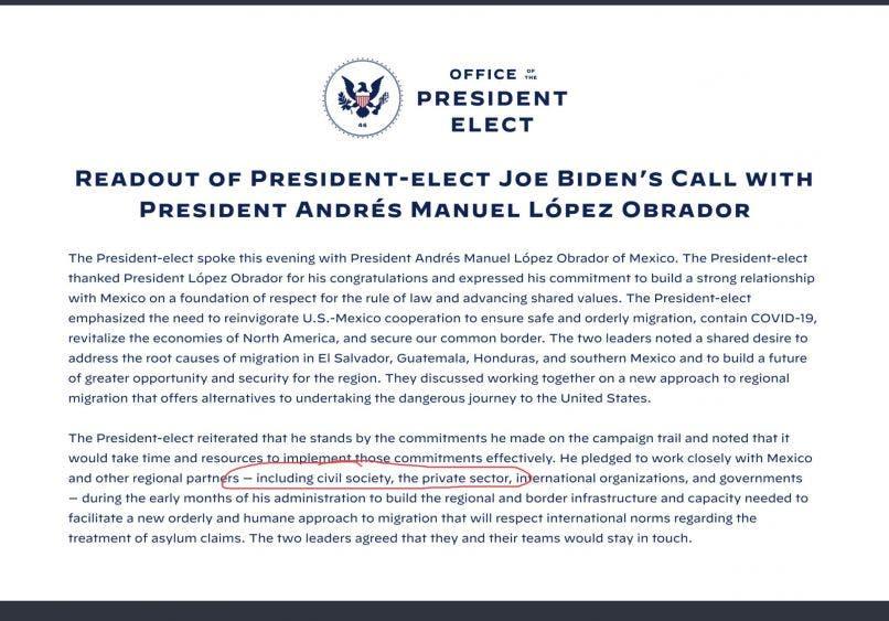 Reafirman AMLO-y Biden trabajar por el bien común; sostienen el mandatario y el presidente electo de EU su primer conversación telefónica.