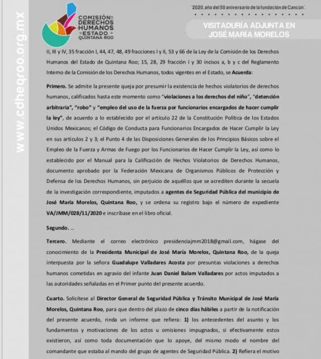 Emite Derechos Humanos recomendación a Ayuntamiento de JMM; atienden queja por actos violatorios de elementos de Seguridad Pública.