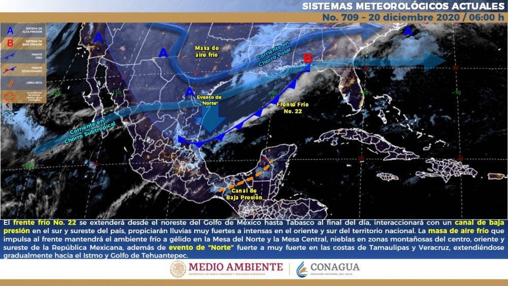 Clima: Frente frío número 22 afectará a Quintana Roo.