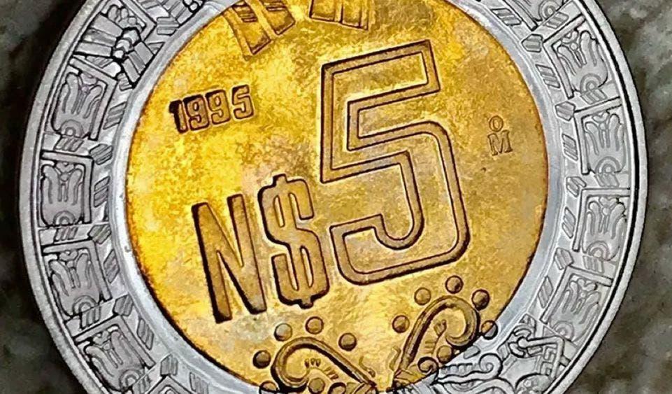 Moneda mexicana de 5 pesos se vende en más de 3 mil 300