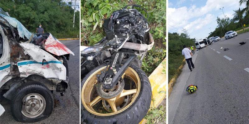 Fatal accidente en el tramo carreteero Cancún-Playa del Carmen.