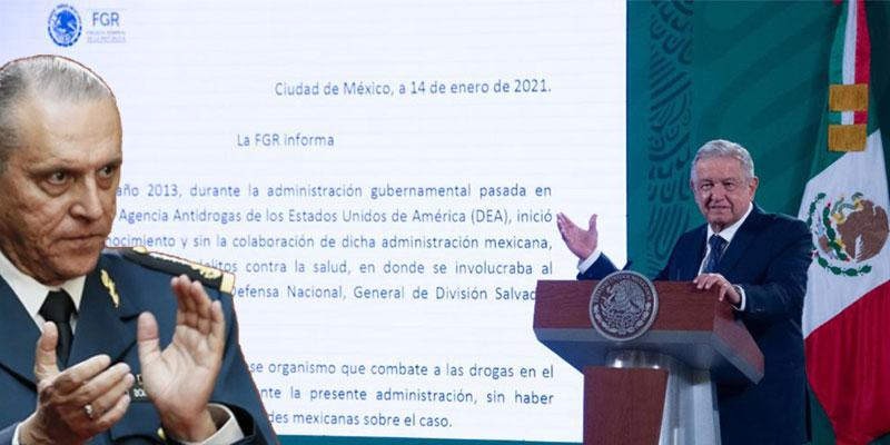 Avala AMLO decisión de la FGE en el caso Cienfuegos.