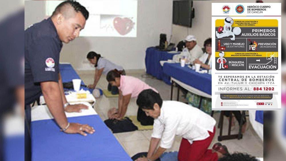 Ofrecen Bomberos de Cancún cursos al público