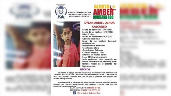 Reportan desaparición de niño de tres años en Cozumel, se presume que pudiera ser víctima de algún delito.