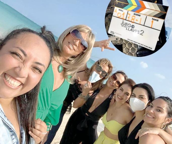 Michelle Rodríguez, Laura León, Alejandra Guzmán, Fabiola Campomanes, Ela Velden, Maite Perroni y Elena Haro, felices en las preciosas playas del Caribe mexicano.