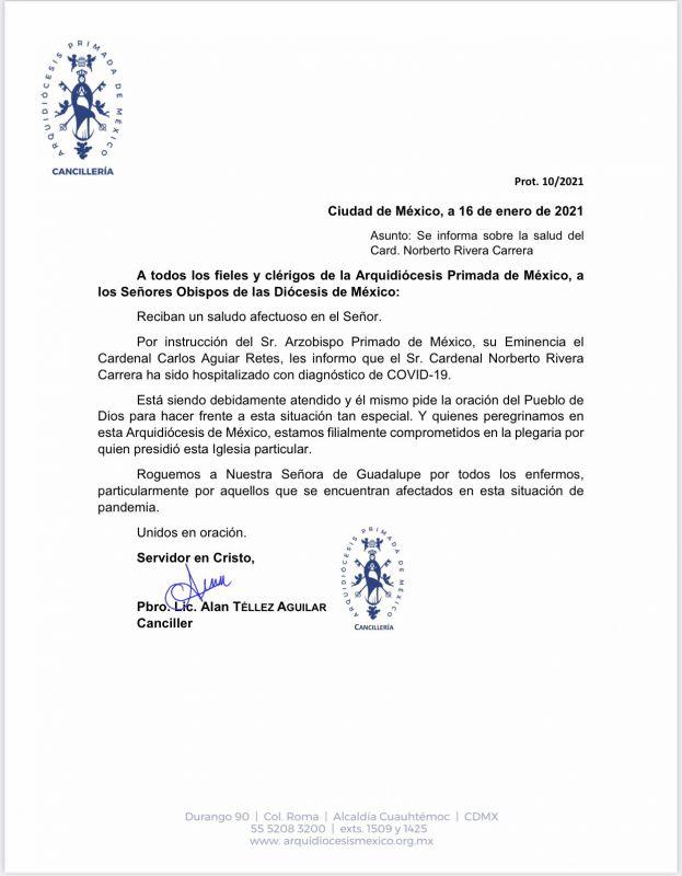 Por Covid-19 hospitalizan a Norberto Rivera, arzobispo emérito de México; la noticia fue dada a conocer por la Arquidiócesis en un comunicado.