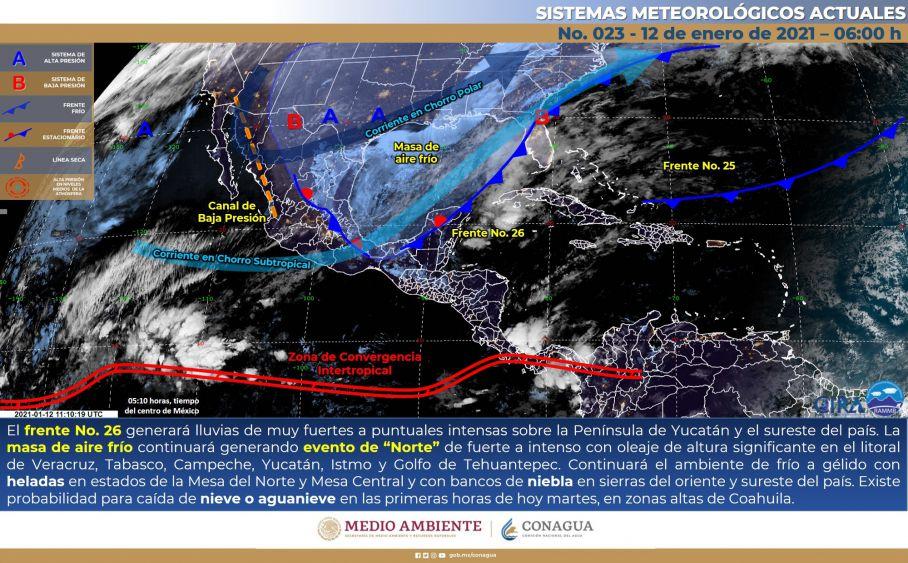 Clima: Continuarán las lluvias fuertes en Quintana Roo; se desplaza sobre la Península de Yucatán el frente frío número 26.