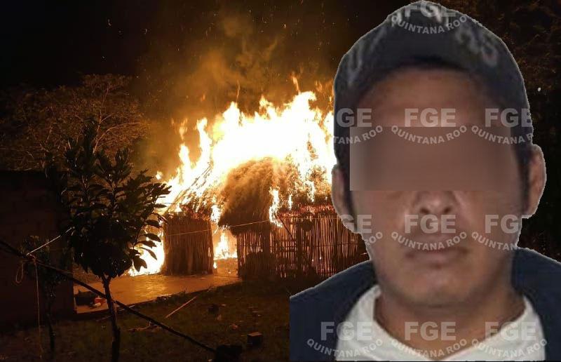 Detienen a feminicida que quemó en su casa a su expareja.