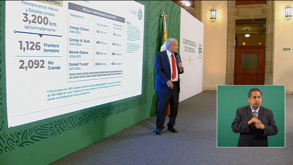 El Presidente Andrés Manuel López Obrador presentando las cifras de la construcción del muro en la frontera con México.