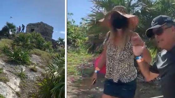 Video: Turistas paisanos profanan ruinas arqueológicas de Tulum.