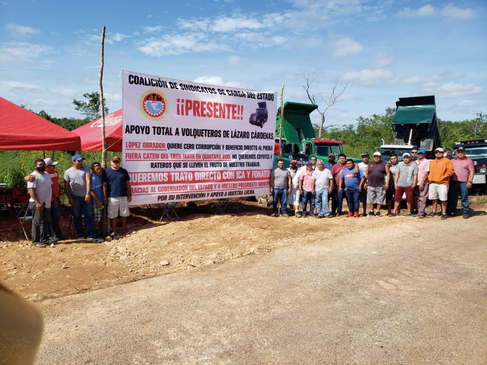 Coalición de Sindicatos respalda lucha de volqueteros de la CTM.