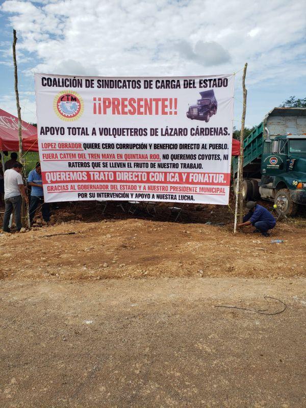 Coalición de Sindicatos respalda lucha de volqueteros de la CTM; no quieren que miembros de la CATEM se lleven el fruto de su pesado trabajo en el Tren Maya.