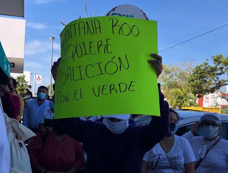 Rechazan alianza entre Morena y PVEM en Quintana Roo
