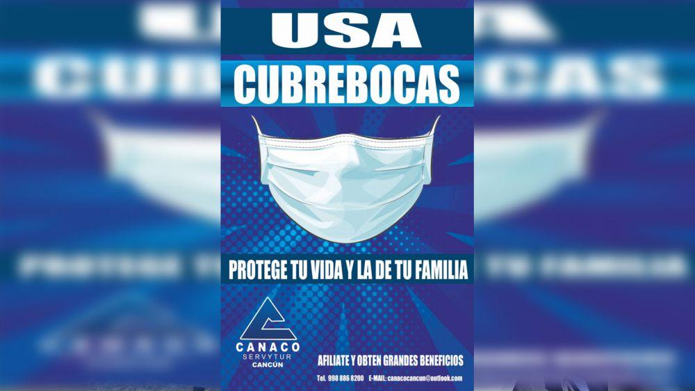 Lanza Canaco de Cancún campaña para uso de cubrebocas