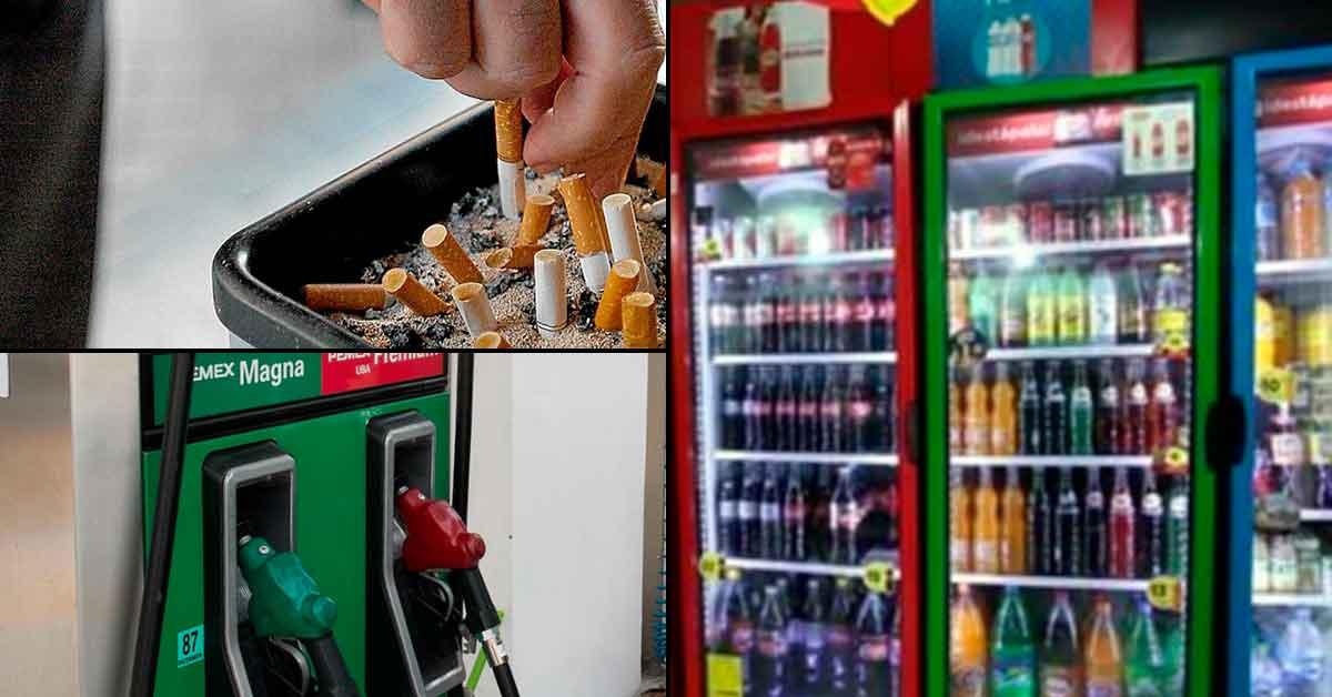 Incremento de precios a la gasolina, cigarros y refrescos en Yucatán