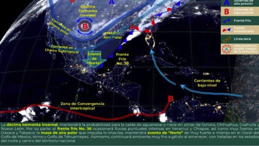 ¡Prepárese! Habrá lluvias en nueve estados debido al Frente Frío número 36