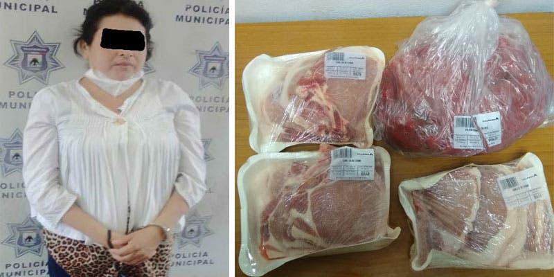 Detienen a mujer por tentativa de robo en supermercado de Cozumel.