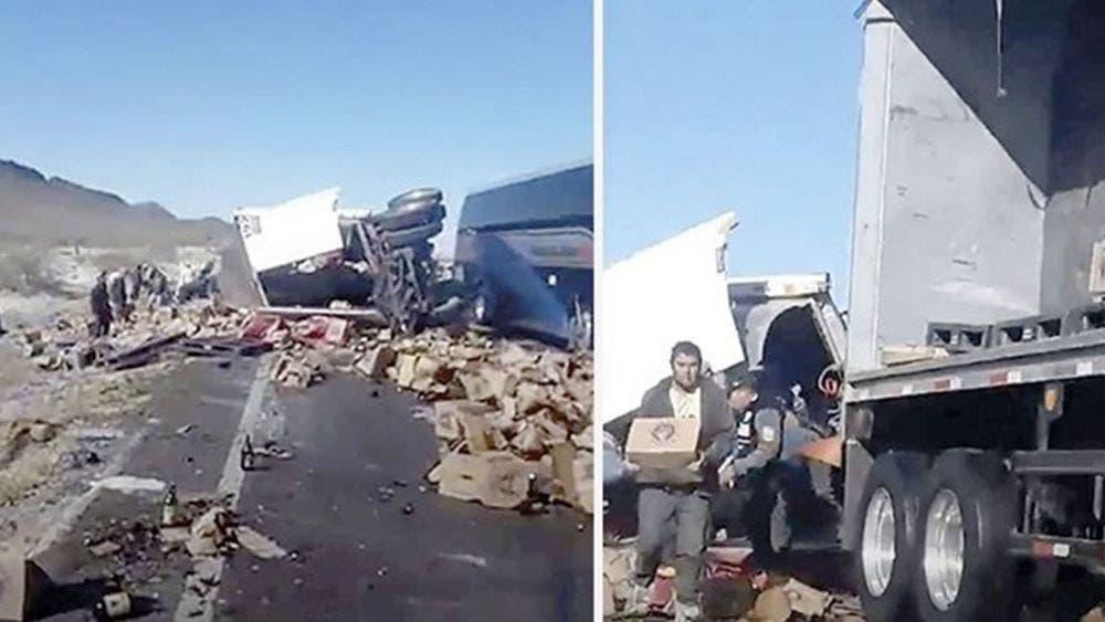 Tras volcadura arrasan con 25 toneladas de cerveza en Torreón