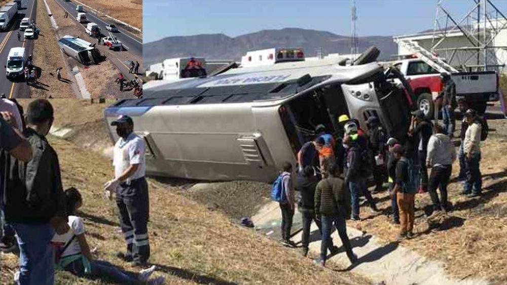 Volcadura de camión deja un muerto y decenas de heridos