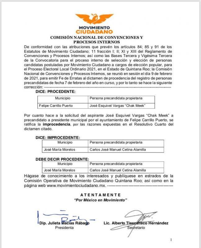 Carlos Cetina sigue vivo en la contienda electoral en José M. Morelos.