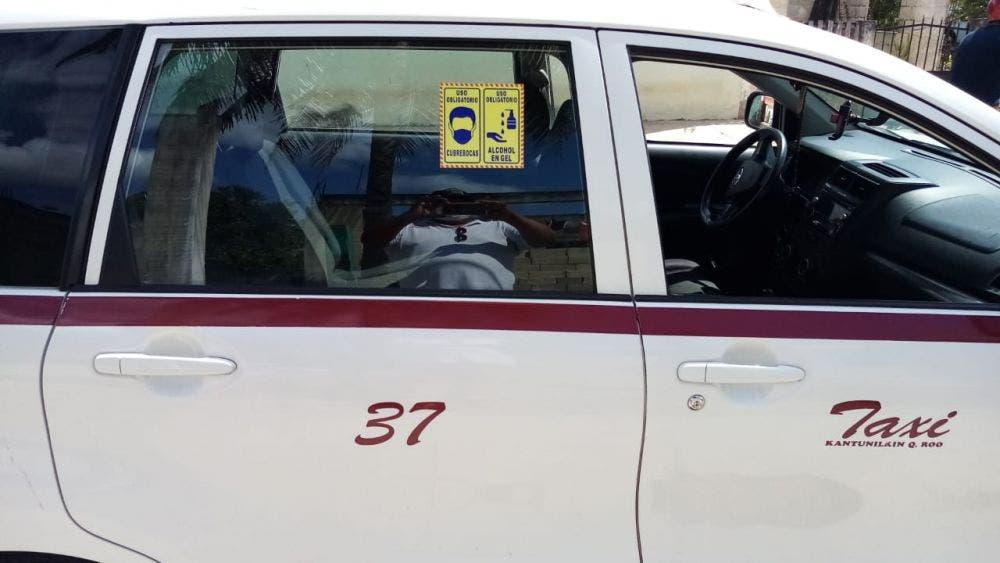 Promueven taxistas de Kantunilkín medidas sanitarias contra Covid.
