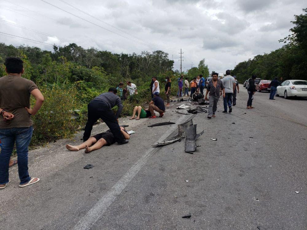 Deja seis heridos brutal choque en la carretera Tulum-Cobá.