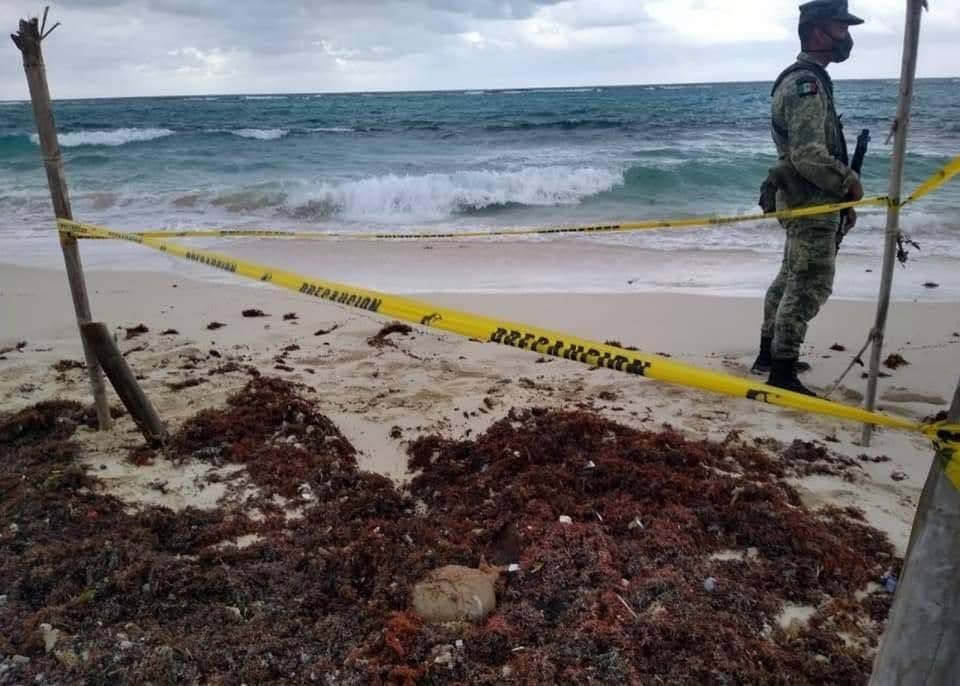 Recala paquete de marihuana en la zona oriental de Cozumel; militares hallan bulto con 4 kilos de la droga.