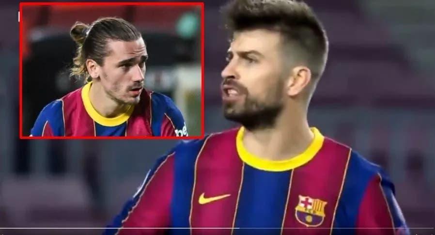 Discusión entre Piqué y Griezmann durante el Barcelona vs PSG