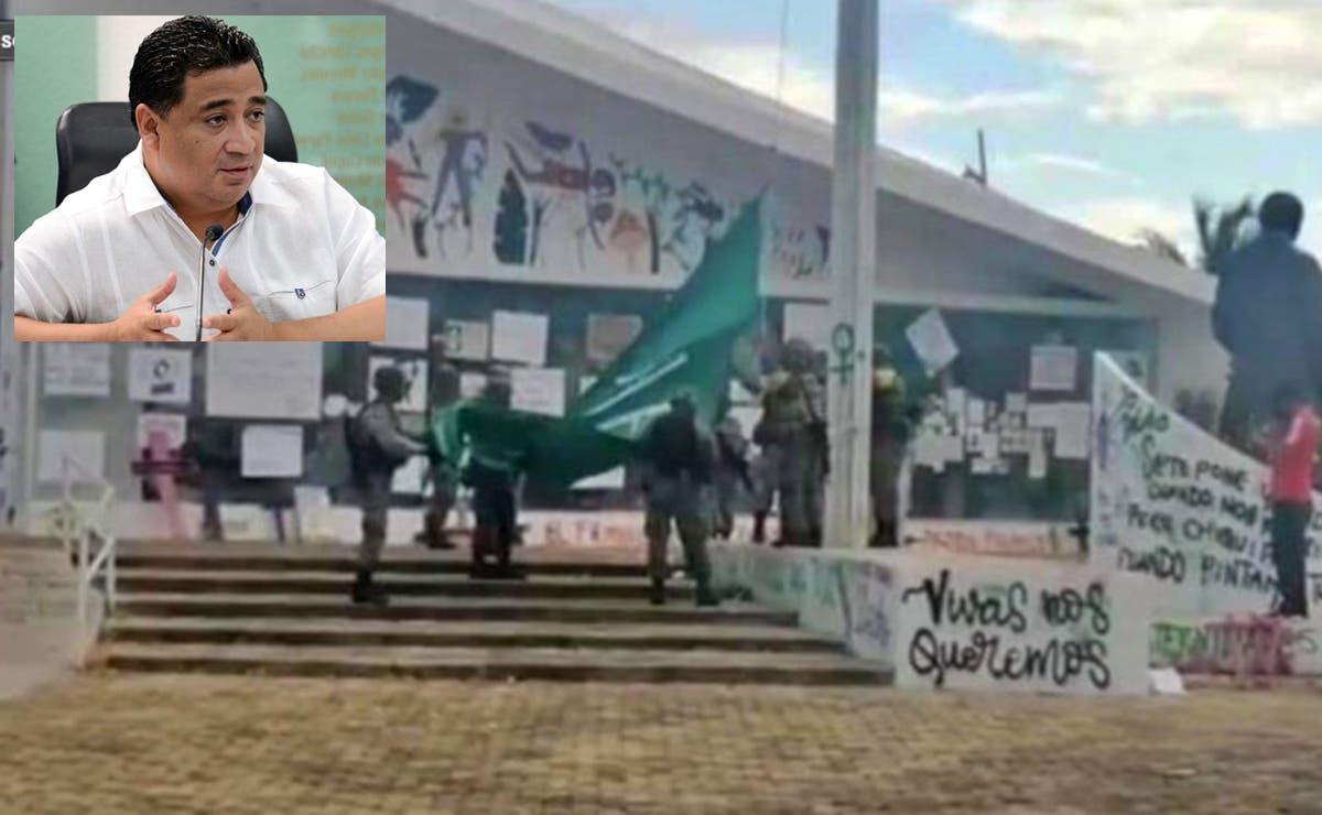 Empieza Sedena a meter órden a feministas en Congreso de Quintana Roo