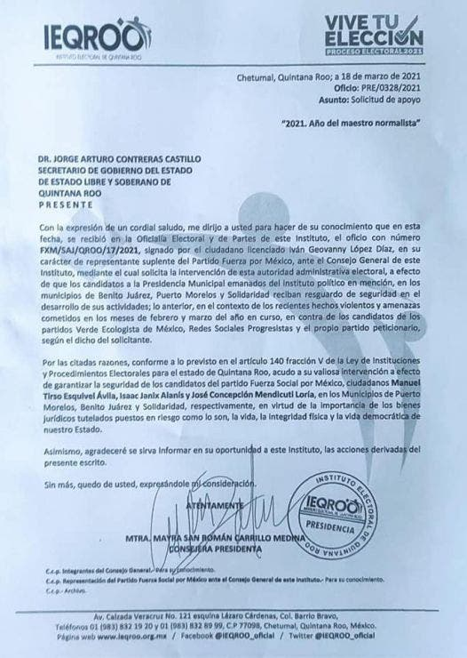 Solicitan Esquivel, Janix y Mendicuti, seguridad durante el proceso electoral.
