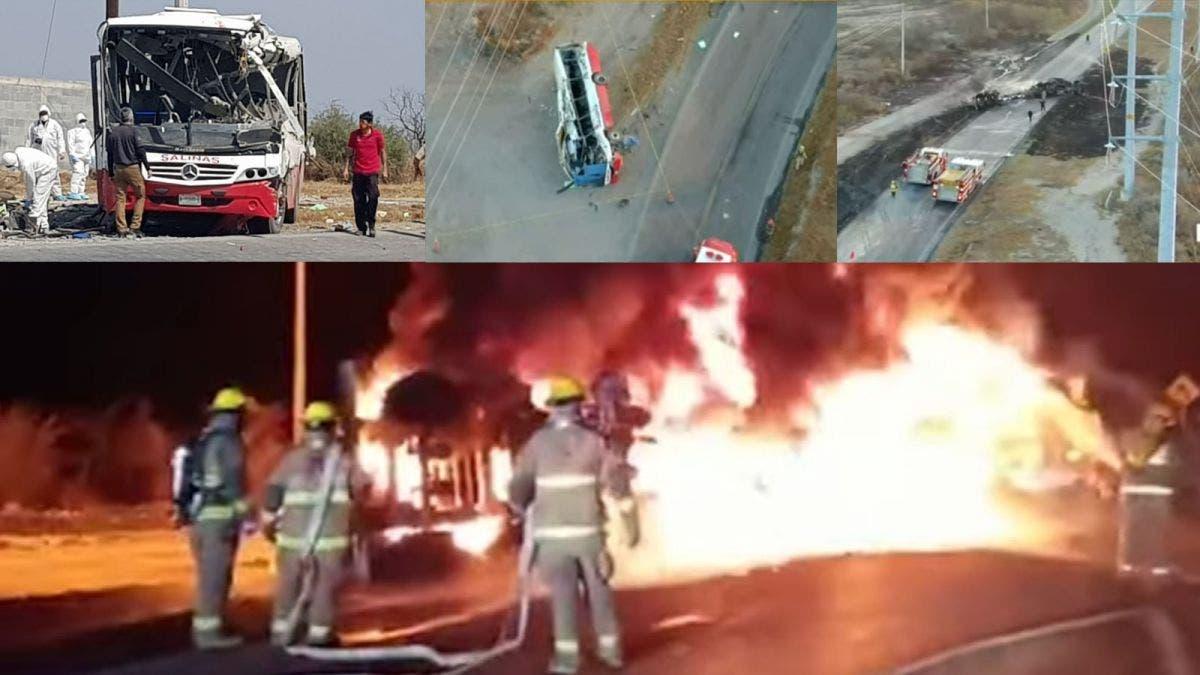 Choque entre una pipa y camión urbano deja 11 muertos en Nuevo León
