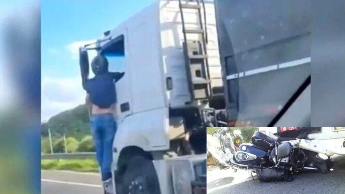 Se cuelga de camión que atropelló y mató a su esposa