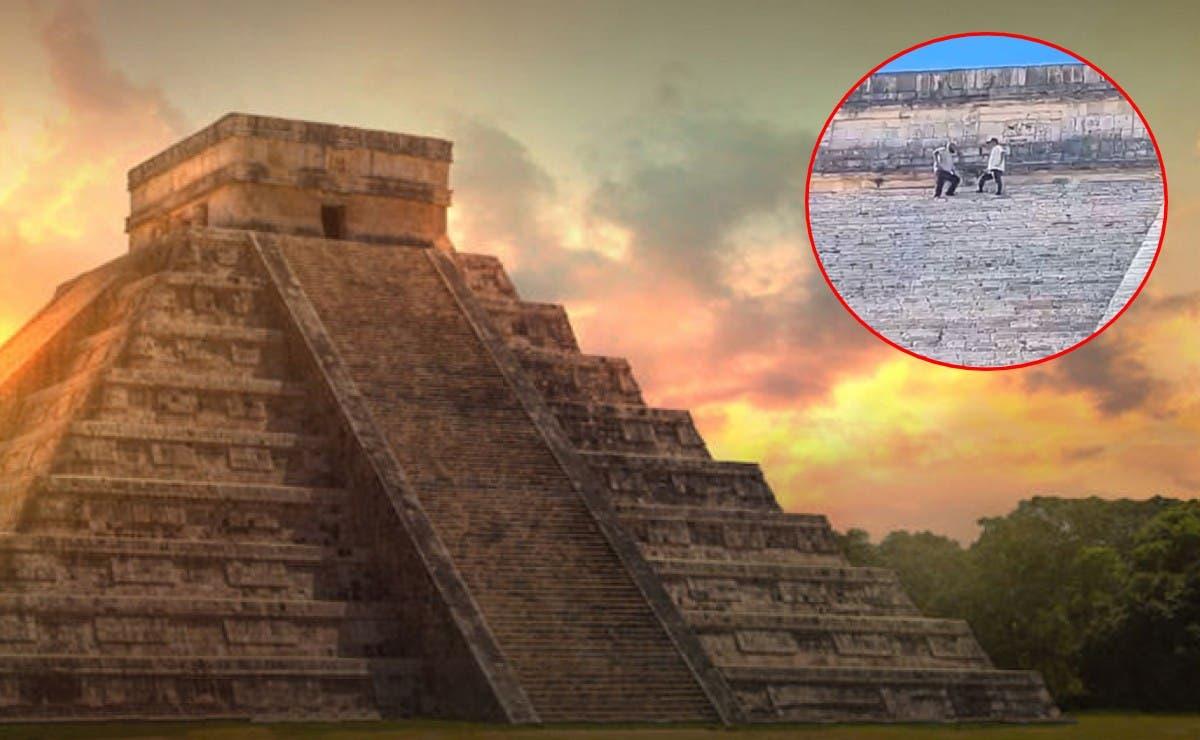 Hombre que subió a pirámide de Chichén Itzá pagaría multa de hasta 50 mil pesos