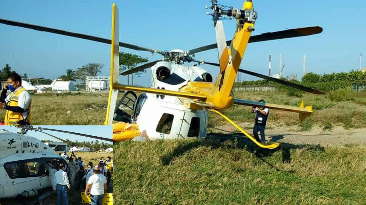 Reportan cinco lesionados tras desplome de helicóptero en Tabasco