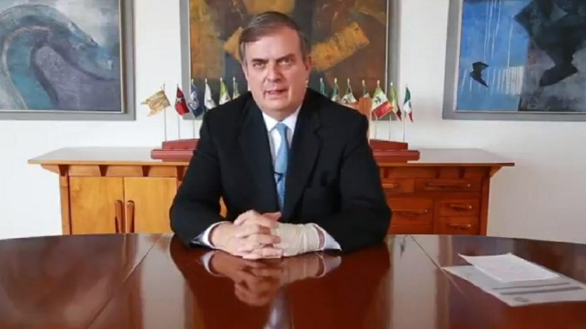 El canciller Marcelo Ebrard durante su mensaje tras la reunión con la coordinadora para la frontera sur de Estados Unidos, Roberta Jacobson.