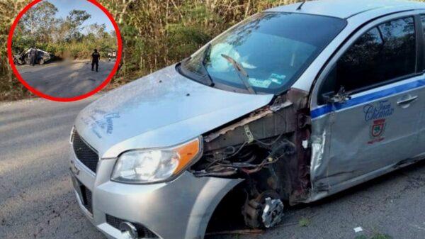 Muere conductor tras invadir carril contrario y chocar con dos vehículos en Chemax