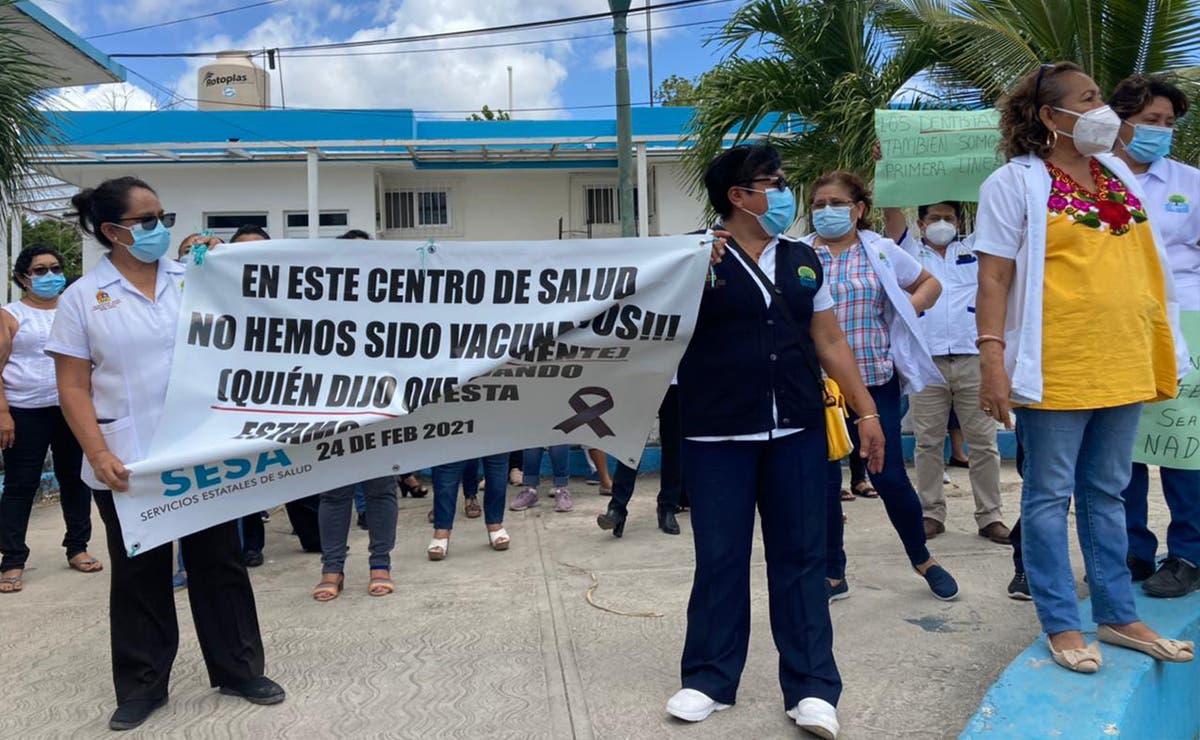 Protesta personal médico de zona maya por falta de vacunas covid