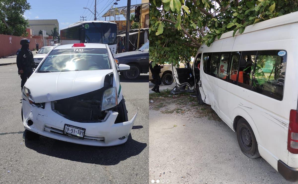 Accidente entre transportistas de Cancún deja cuatro lesionados