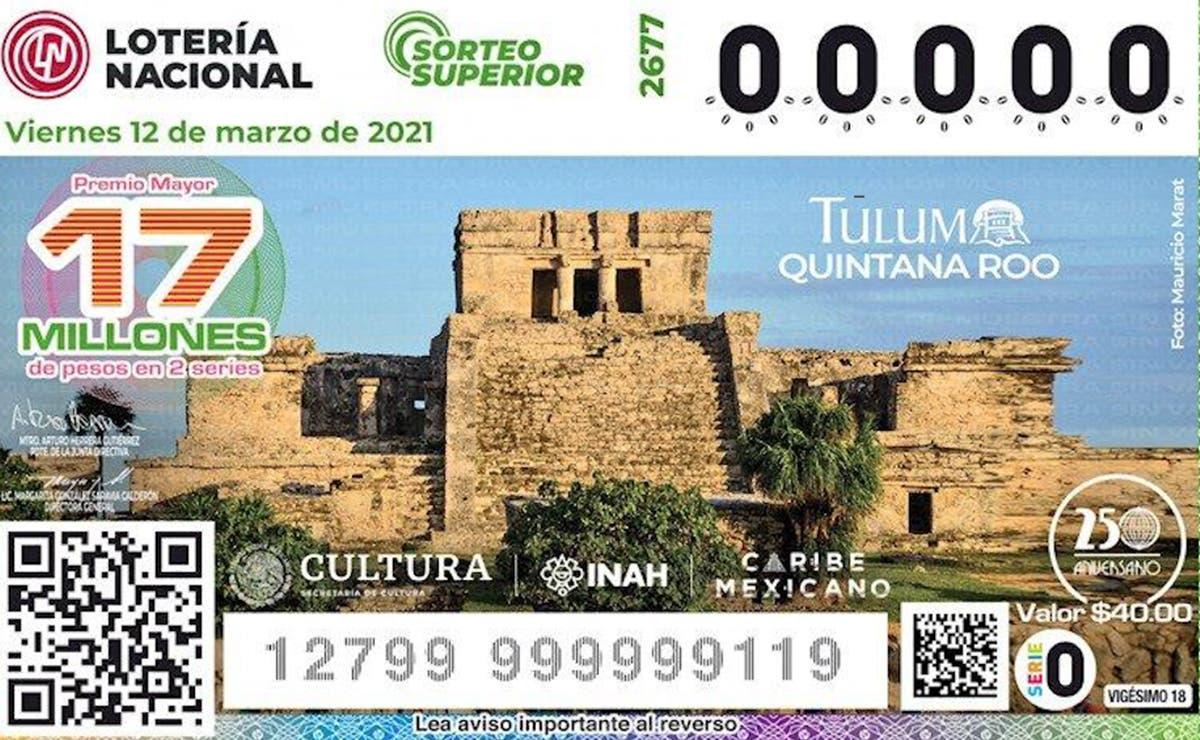 Promueven Tulum en billete de la Lotería Nacional