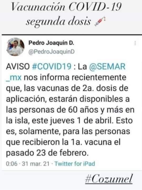 Refutan al edil de Cozumel en la vacunación a adultos mayores; delegada del Bienestar asegura que no hay fecha para la segunda dosis.