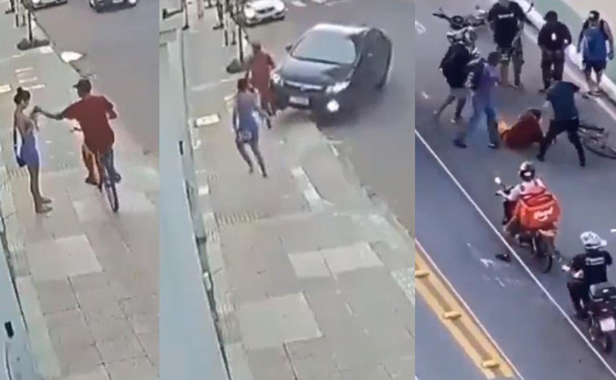 Video: Ciclista roba celular y es atropellado