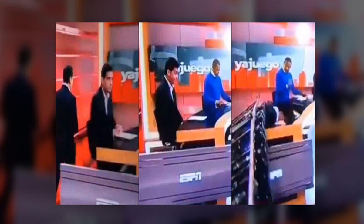 En plena transmisión una pantalla le cayó encima a un conductor, minutos después de iniciar el programa