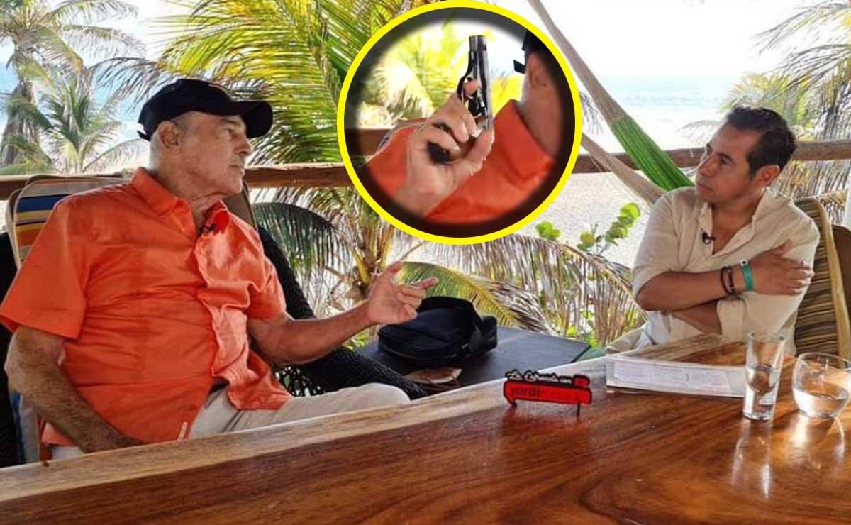 Andrés García apunta y dispara pistola en entrevista con Yordi Rosado