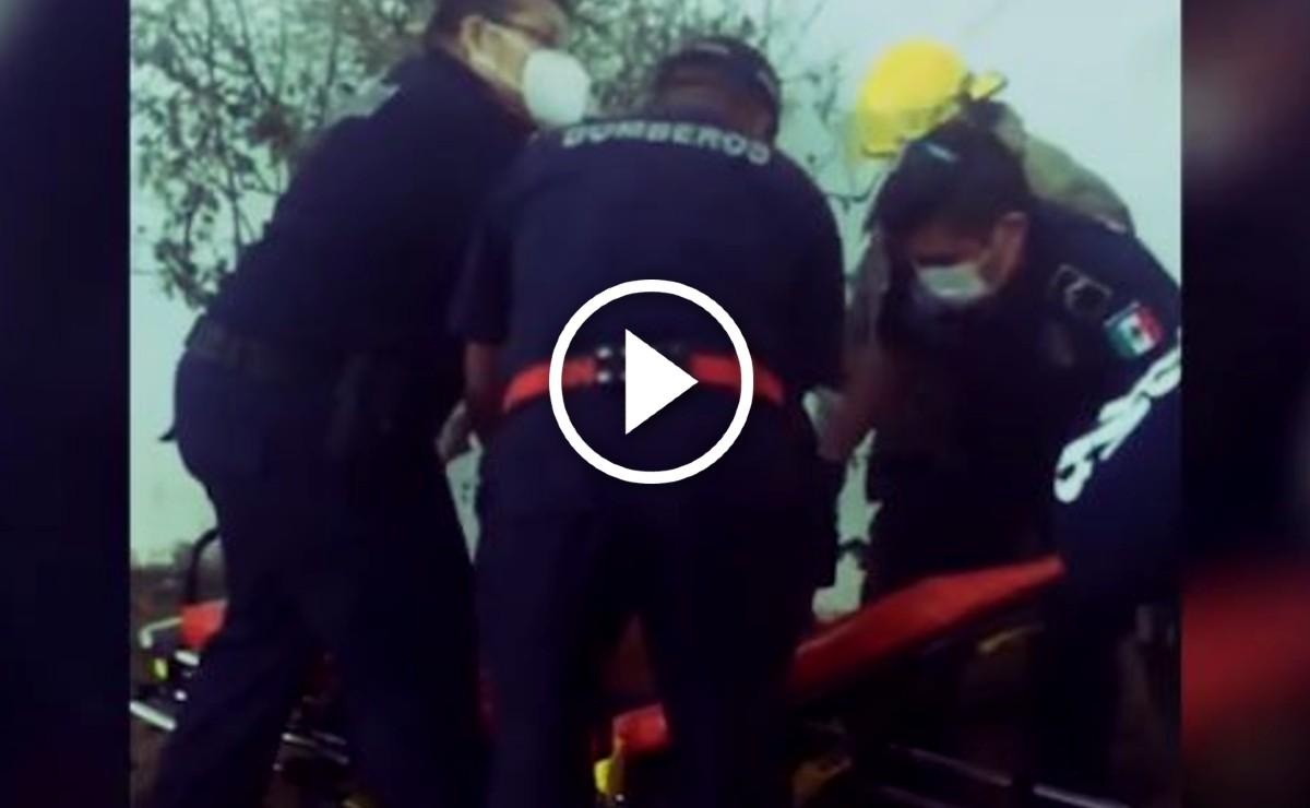 Señor de 51 años es recatado en Mérida tras quedar entre dos paredes (Video)