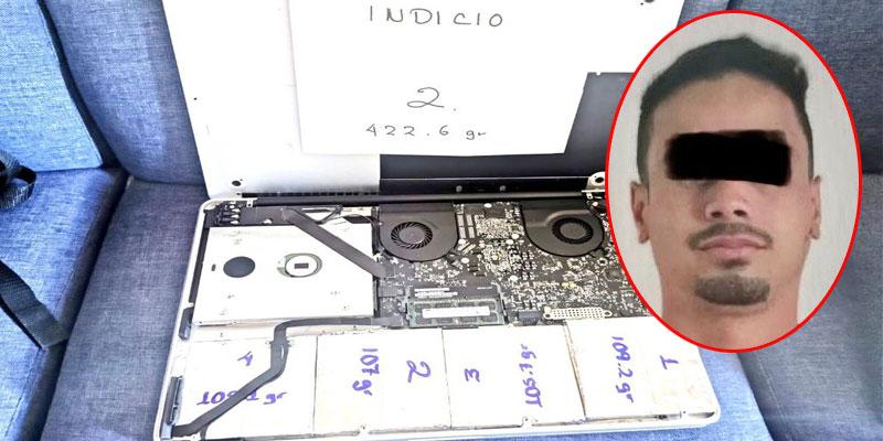 Detienen en aeropuerto de Cancún a colombiano con cocaína en una laptop